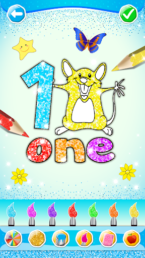 Glitter Number and letters coloring Book for kids screenshot 22