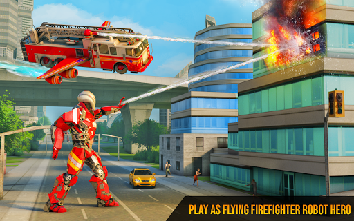 Flying Firefighter Truck Transform Robot Games 19 screenshots 7