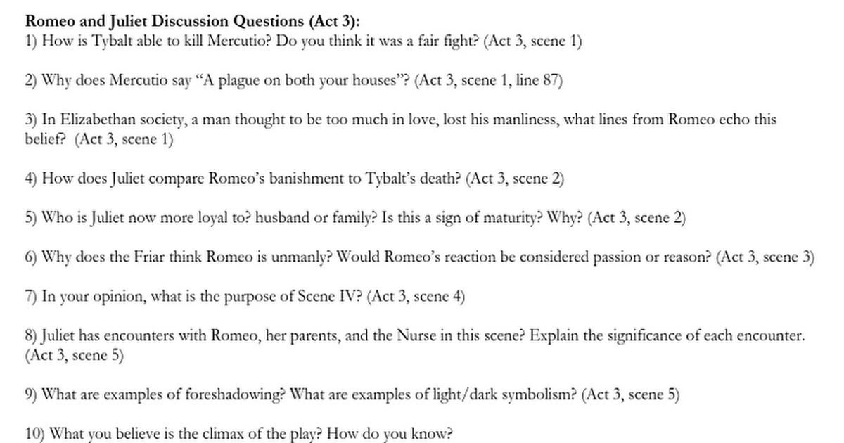 Romeo And Juliet Discussion Questions Act 3 Google Docs