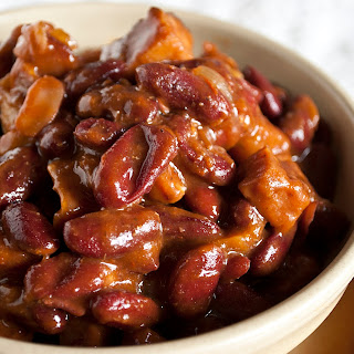 Beer Baked BBQ Ham & Beans.