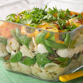 Layered Pasta Caprese Salad.