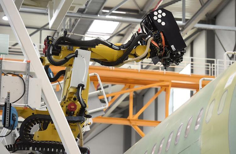 Drilling and filling robot 'Luise' works on Airbus's new A320 production line in Hamburg, Germany, June 14 2018. Picture: REUTERS
