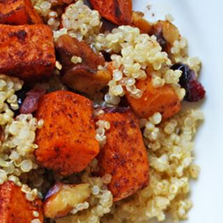 Quinoa Sweet Potato Salad with Walnuts & Dried Cranberries.