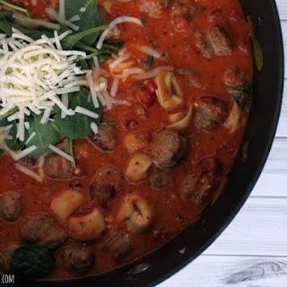 One Pot Spinach and Sausage Tortellini In Tomato Cream Sauce.