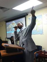 Photo: Sr. Pastor A.. A. Jackson prophesying during morning worship.