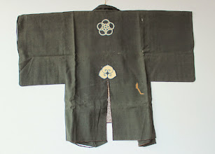 "Photo: FT-2083 Edo Period silk and wool fireman's coat with maekake (chest protector) $3200 W: 47""  H: 37  1/2"""