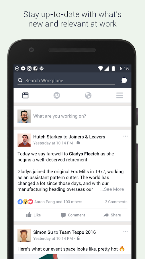Workplace by Facebook- screenshot