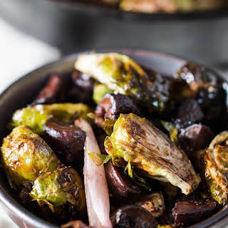Roasted Brussels Sprouts and Shallots with Mushrooms.