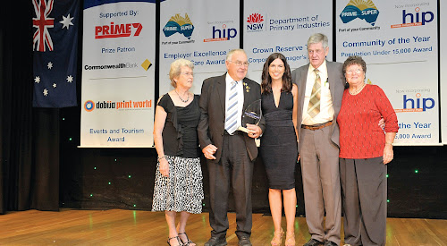 Elaine and Geoff Eather, presenter Evie Madden and Ron and May Boxsell at the NSW and ACT Regional Achievement and Community Awards on Saturday.