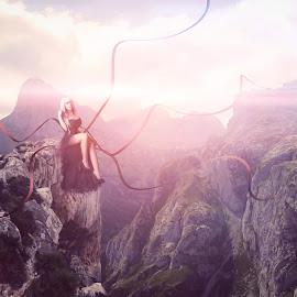 Living At Peak... by Ilkgul Caylak - Digital Art People ( imagine, nature, edited, cool, photoshop, girl, nice )