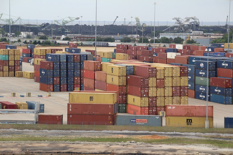 Shipping containers stacked on the dockside in the port of Mobile, Alabama, in the US. Picture: ISTOCK