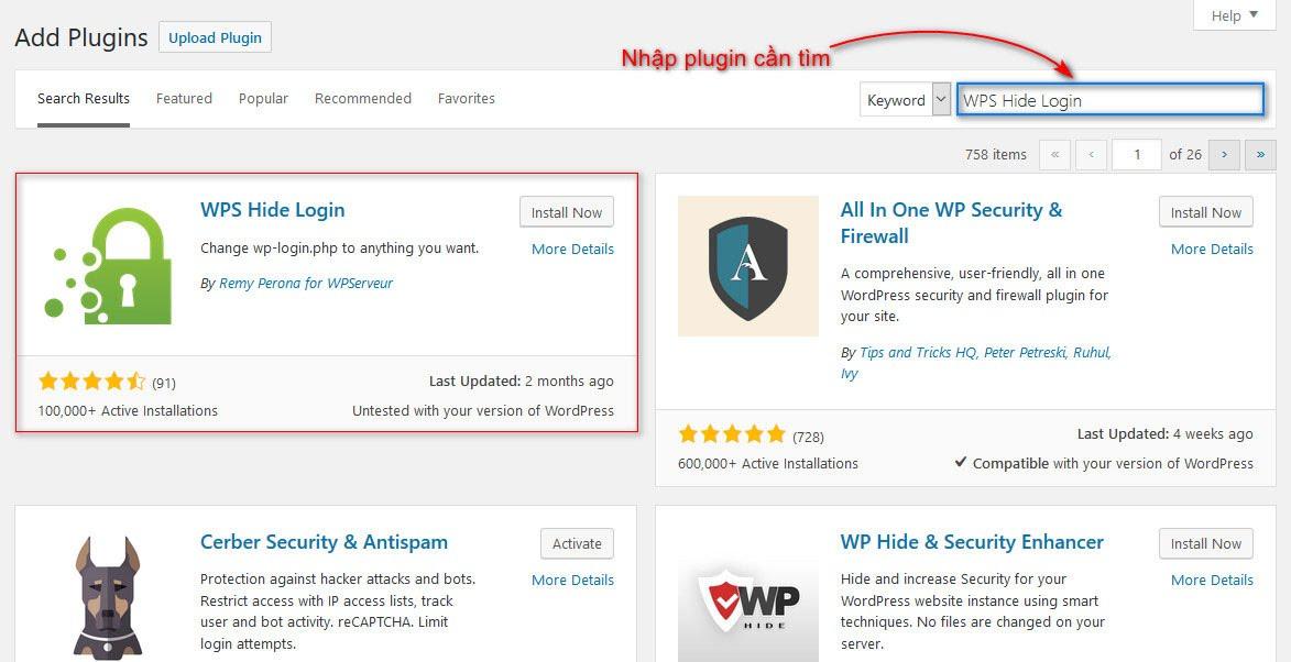 Tìm kiếm plugin WordPress trong Dashboard