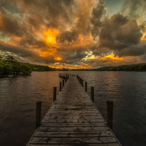 Sunrise on Coniston Water by Andrew Holland - Landscapes Sunsets & Sunrises