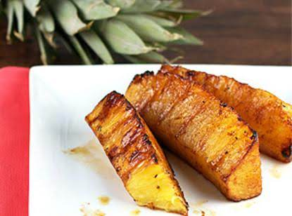 Brown Sugar And Cinnamon Coated Grilled Pineapple