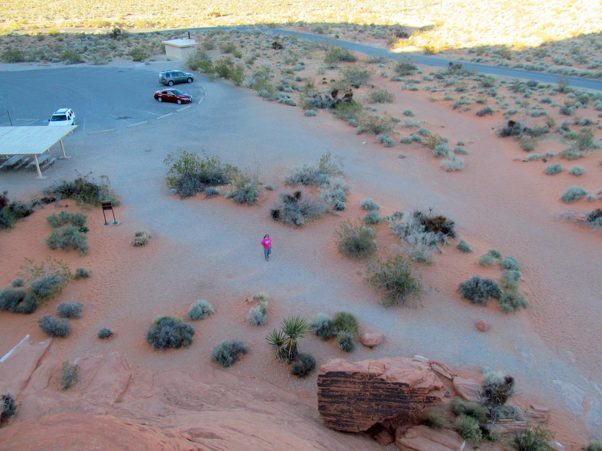 Photo: Traci at the Atlatl Rock parking area