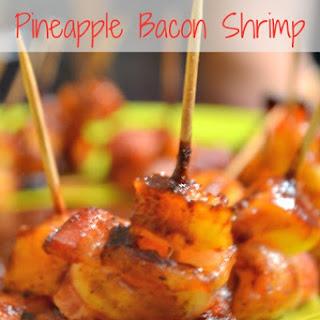 BBQ Glazed Pineapple Bacon Shrimp.