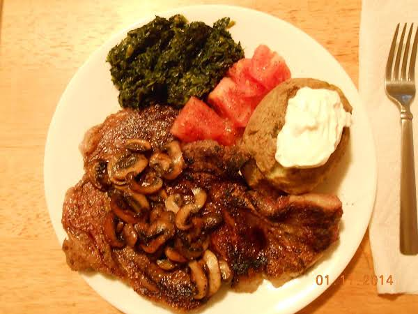 Steak Dinner With A Side Of Southern Spinach.