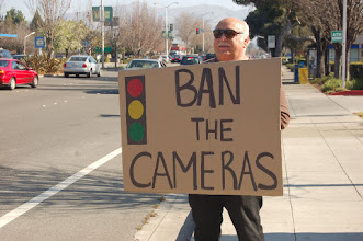 Photo: January 4: Ban the Cameras  There were guys protesting the red light camera at the intersection of Fremont Blvd and Mowry Ave. It was all a bunch older guys doing the protest.