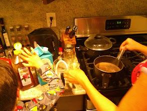 "Photo: Clark and Eva Make ""Clean"" Hot Chocolate"