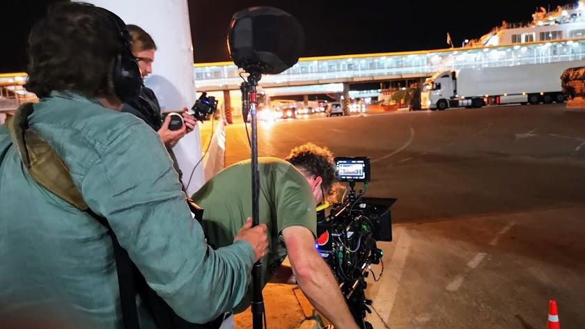 Imagen del rodaje en el Puerto de la película holandesa 'King of the road'.