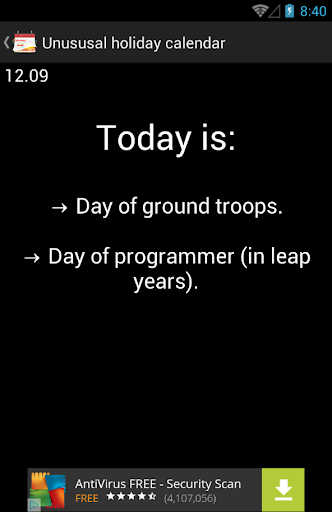 Unusual holiday calendar
