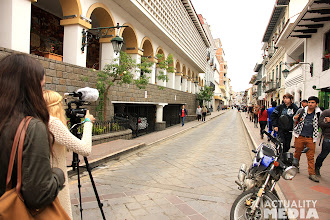 Photo: Filming in the streets of Cuenca with the TECHO crew.