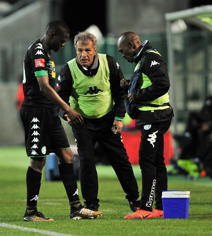 Veselin Jelusic, head coach of Bloemfontein Celtic chat to Ndumiso Mabena of Bloemfontein Celtic while he receives treatment during the Absa Premiership 2017/18 game between Ajax Cape Town and Bloemfontein Celtic at Athlone Stadium, Cape Town on 21 October 2017.