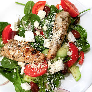 Greek Spinach Salad with Grilled Turkey Tips.