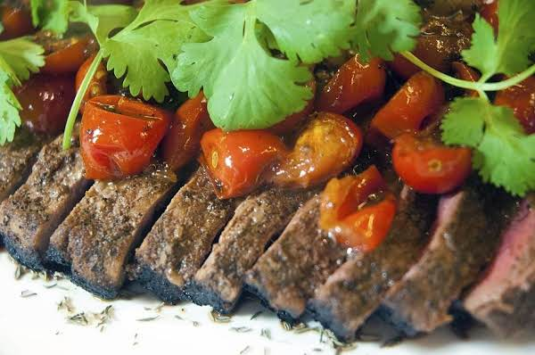 Awesome Skirt Steak With Coffee Rub & Tomatoes Recipe