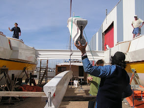 Photo: Putting the beams in place
