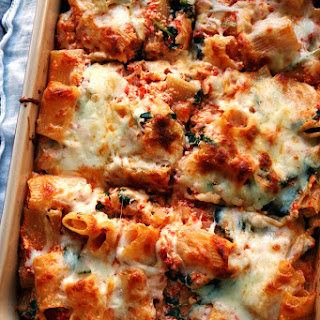 Baked Ziti with Roasted Red Peppers, Baby Kale, and Ricotta.