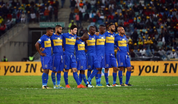 Cape Town City FC players watch the penalty shoot-out during the MTN 8 Final match against SuperSport United at Moses Mabhida Stadium on October 14, 2017 in Durban, South Africa.