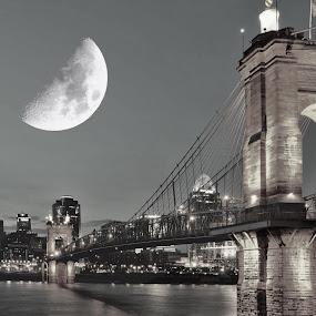 Bad Moon Rising. by Jim Dawson - Novices Only Landscapes ( #cincinnati #john a roebling #bridge #river #ohio #kentucky #skyline #city )