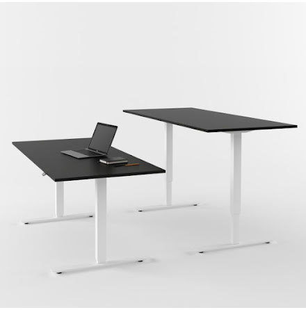 Skrivbord el vit/svart 1800x80