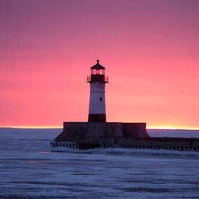 Think Pink by Alison Gimpel - Landscapes Weather ( duluth, minnesota, sunrises, lakesuperior, lighthouse, sunrise,  )