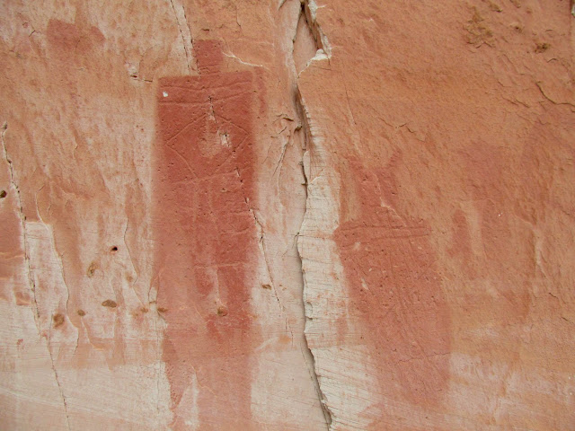 More pictographs painted over petroglyphs