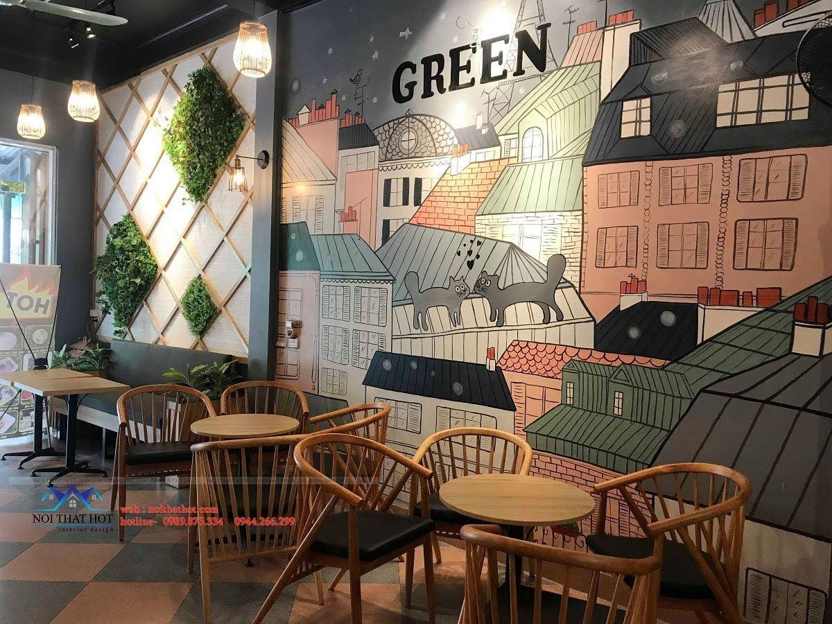 thiết kế quán trà sữa green 11