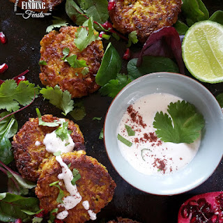 Roasted Cauliflower Curry Fritters w/ Sriracha Mayo & Pomegranate