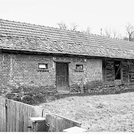 old barn by Miroslav Bičanić - Black & White Buildings & Architecture ( bricks, barn, vintage, old, stable, countryside, abandoned, village )