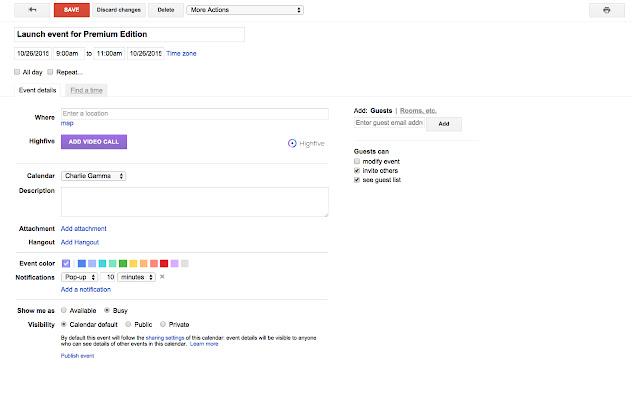 Highfive for Google Calendar
