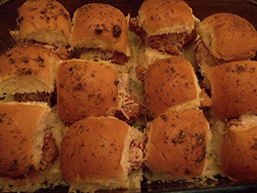 Chicken parmigiana sliders recipe just a pinch recipes for Jjs fish and chicken