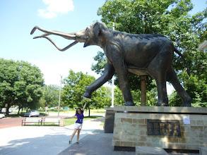 Photo: High fiving a mammoth statue in Nebraska