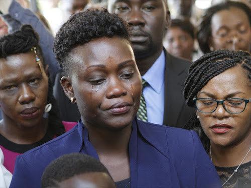 Widow of slain IEBC manager for ICT Chris Msando, Eve Msando during his memorial service at Consolata Shrine.