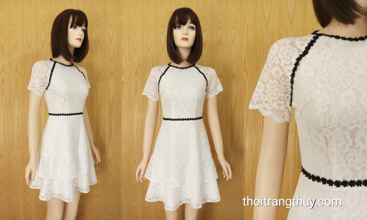 Váy ren dáng xòe màu trắng mặc dạo phố và dự tiệc V624 Thời Trang Thủy
