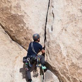 crack by Dennis Rathbun - Sports & Fitness Climbing ( rock wall, wedged, crack, climber, granite )