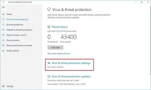 Virus & threat protection option
