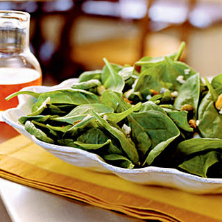Spinach Salad with Gorgonzola, Pistachios, and Pepper Jelly Vinaigrette.