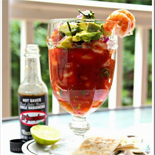 SHRIMP COCKTAIL WITH HABANERO SAUCE.