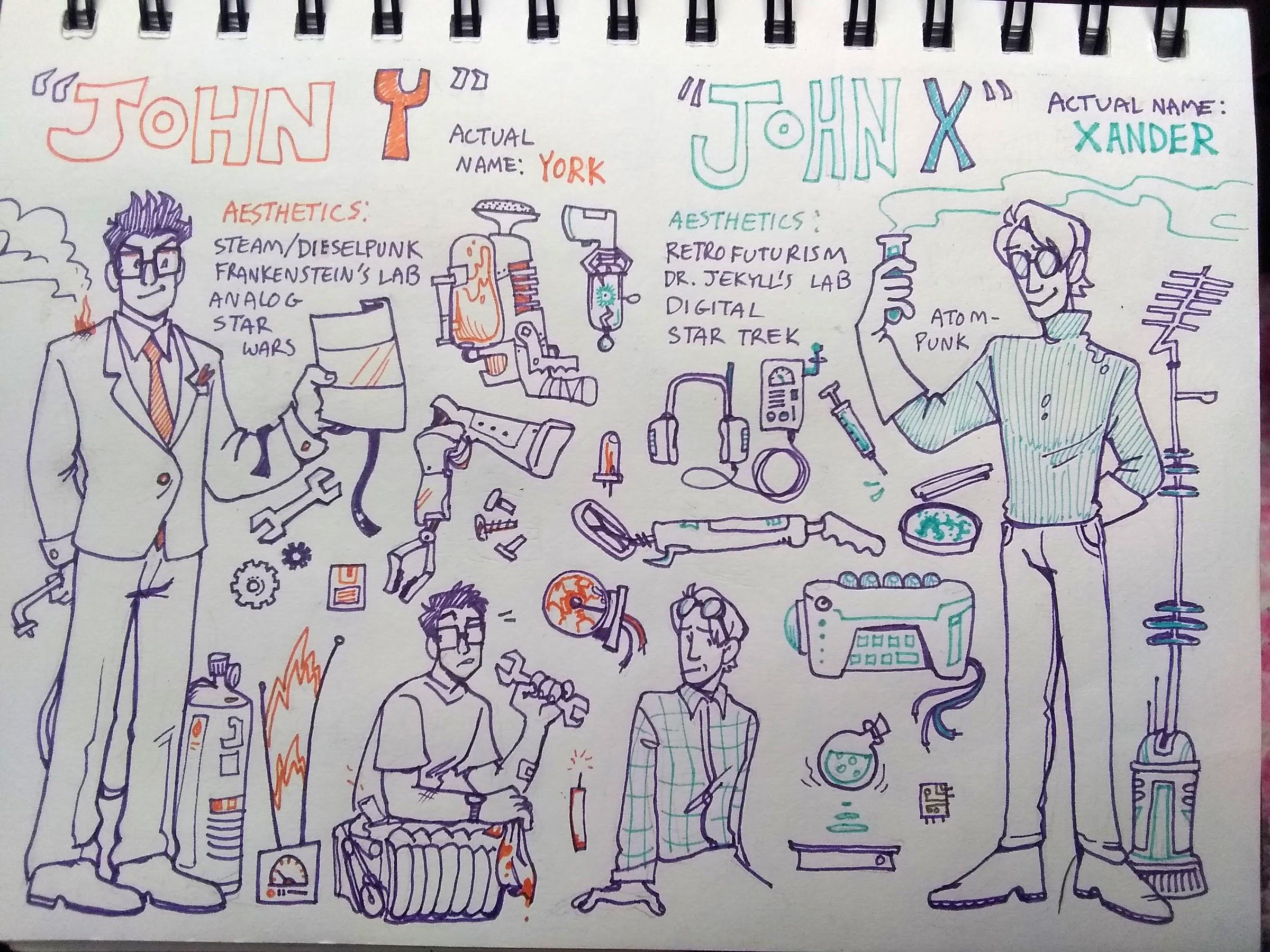 X and Y's distinct tech styles. Y is steam/dieselpunk, analog, star wars; Y is retrofuturist, digital, star trek.