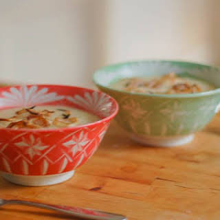 Roasted Cauliflower Soup with Balsamic-Glazed Shallots.